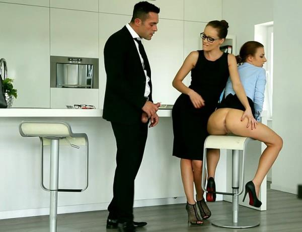 Sophie Lynx, Hannah Sweet - 2 beautiful secretaries fucked after their lunc ...