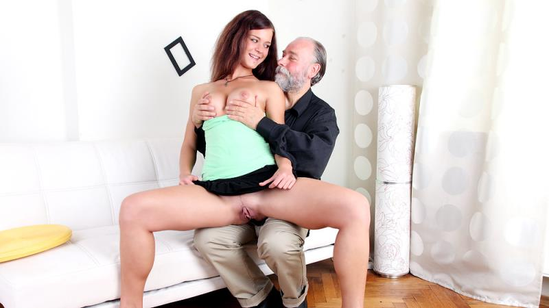 Alyona - Russian girl having sex with an old bearded man her boyfriend's uncle (OldGoesYoung) [FullHD 1080p]