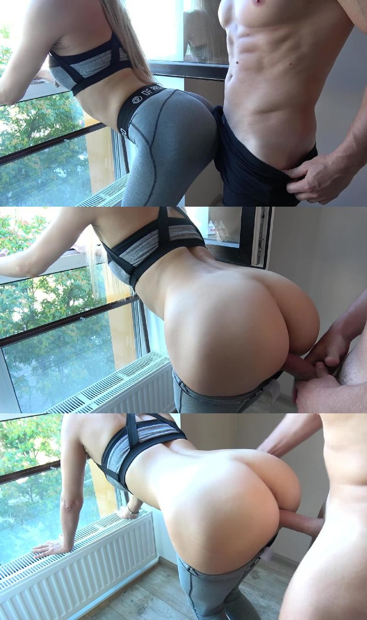 Sexy sister in yoga pants fuck brother bent over, naked heavier woman
