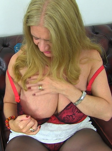 British big breasted temptress Lily May playing with herself