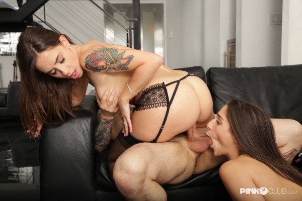 Blowjob from Malena, Abella in Malena and her friend Abella are fucking a hard cock together [SD - 406p - 367.13 Mb] - PinkoClub.com