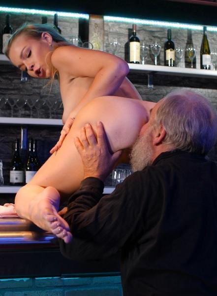 Rebecca in Old man rewards barman with his fresh sperm