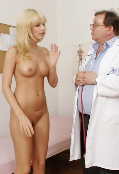 Hot czech blonde Bella Morgan visits aged gynecologist