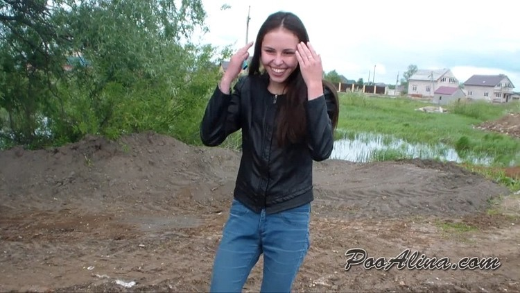 PooAlina - Alina is powerfully shitting and blowing up her shit with a big firecracker