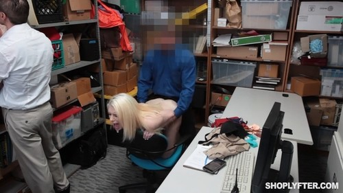 blonde girl cry while she's forced to sex