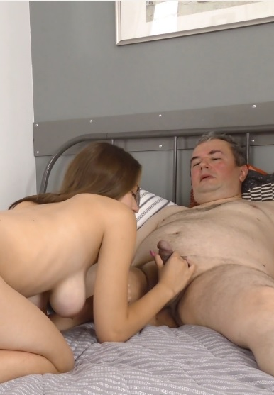 Older man gives fresh cutie a helping hand and a dick