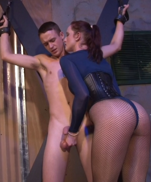 Vivienne Milks Aching Blue Balls on Her Fishnets