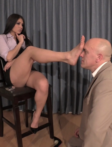 Sexy Intern Controls Her Boss with Her Feet