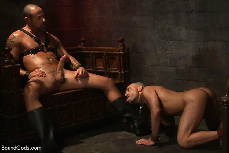Young master dildo fucks his slave boy