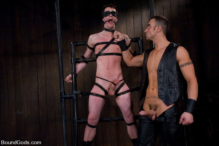 Gay Master In Leather Pants Torturing Slave In Bondage Ass Driling Sex