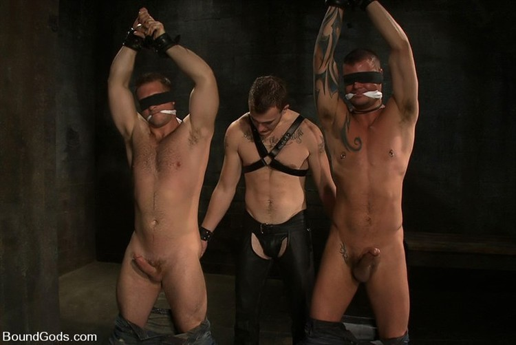 Twink bondage blowjob with cum in mouth and gay male bondage milking