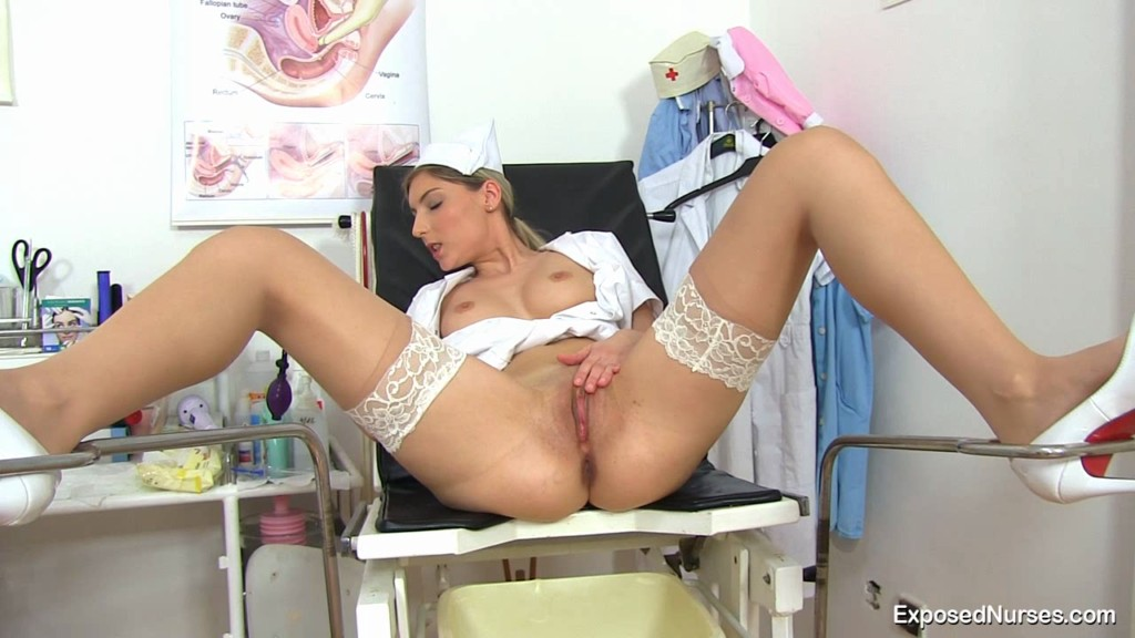 Naughty nurse misa having fun on gynochair