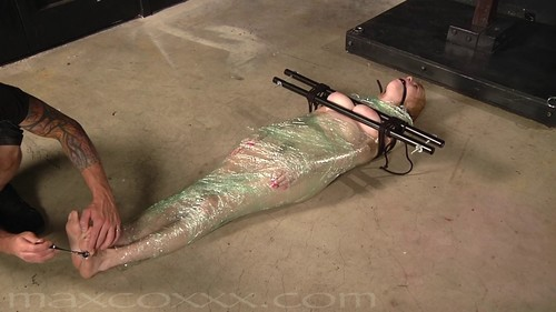Shrink Wrapped Slut Gets Her Tits Tortured