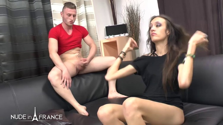 Mordicia - Casting of a skinny brunette getting her very 1st sodomy and double penetration before getting her face cum covered