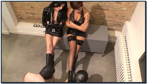 Two Oral Servants For Our Dirty Boots Femdom Foot Fetish