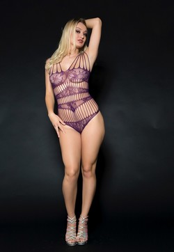 Natalia Starr -  Sexy Sheer Purple Lingerie