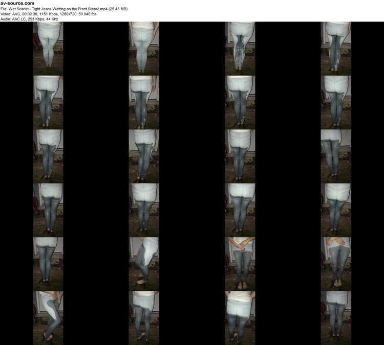 Wet Scarlet - Tight Jeans Wetting On The Front Steps! (mp4, 720p, 25.45 Mb)