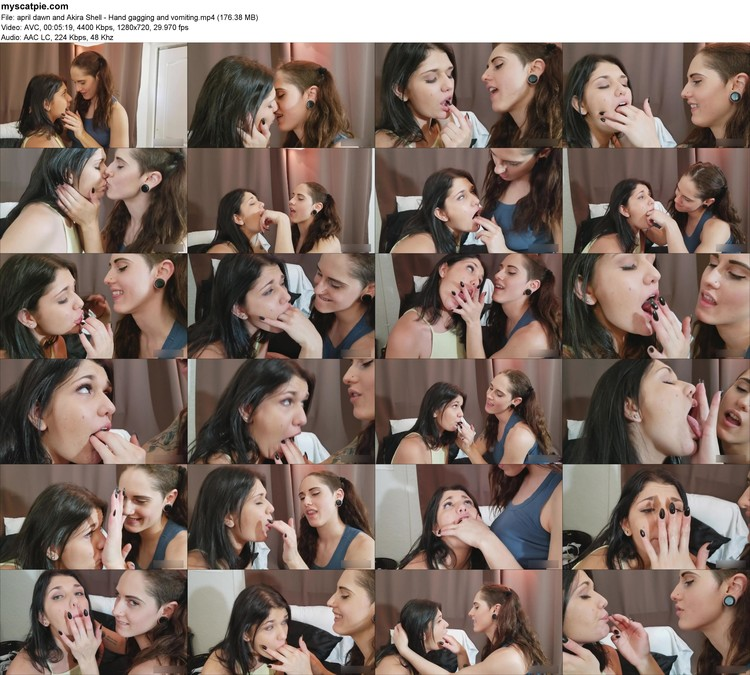 April Dawn And Akira Shell - Hand Gagging And Vomiting (mp4, 720p, 176.38 Mb)