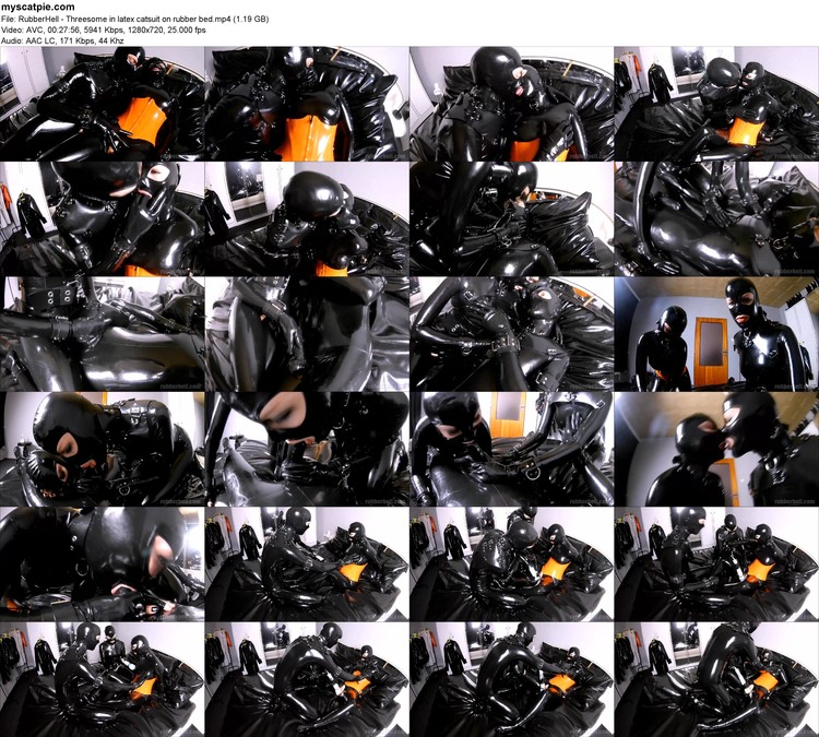 Rubberhell - Threesome In Latex Catsuit On Rubber Bed (mp4, 720p, 1.19 Gb)